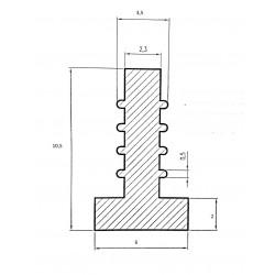 Uszczelka silikonowa transparentna, wciskana, typ T, 023087