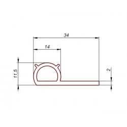Uszczelka typ P, profil uszczelniający silikon termiczny, 023098