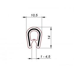 Uszczelka, osłona krawędzi, zaciskowa PVC 54-001