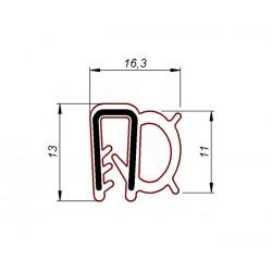 Uszczelka krawędziowa, zaciskowa, czarny silikon 06061