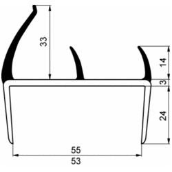 Uszczelka drzwi PVC 55 mm L-2500 mm, 10-400-01