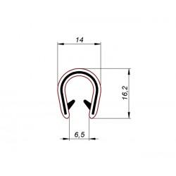 Uszczelka, osłona krawędzi, zaciskowa czarne PVC, 038154