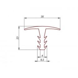 Profil gumowy T biały EPDM, wciskany 038199