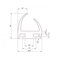 Uszczelka drzwi gumowa wciskana w profil aluminiowy, 038933