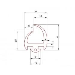 Uszczelka drzwi gumowa wciskana w profil aluminiowy, 038957