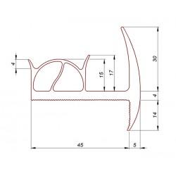 Gumowa uszczelka drzwi chłodni samochodowej 45 mm, szara, 39-516