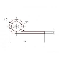 Profil silikonowy typ P,  fi 10 mm czarna, 023090-01