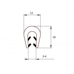 Uszczelka krawędziowa, zaciskowa silikon transparentny, 023803