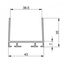 Aluminiowy profil dolny i górny bramy garażowej, 57-586