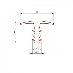 Profil gumowy T czarny EPDM, wciskany 038200