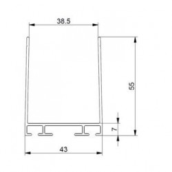 Aluminiowy profil dolny i górny bramy garażowej, 57-587